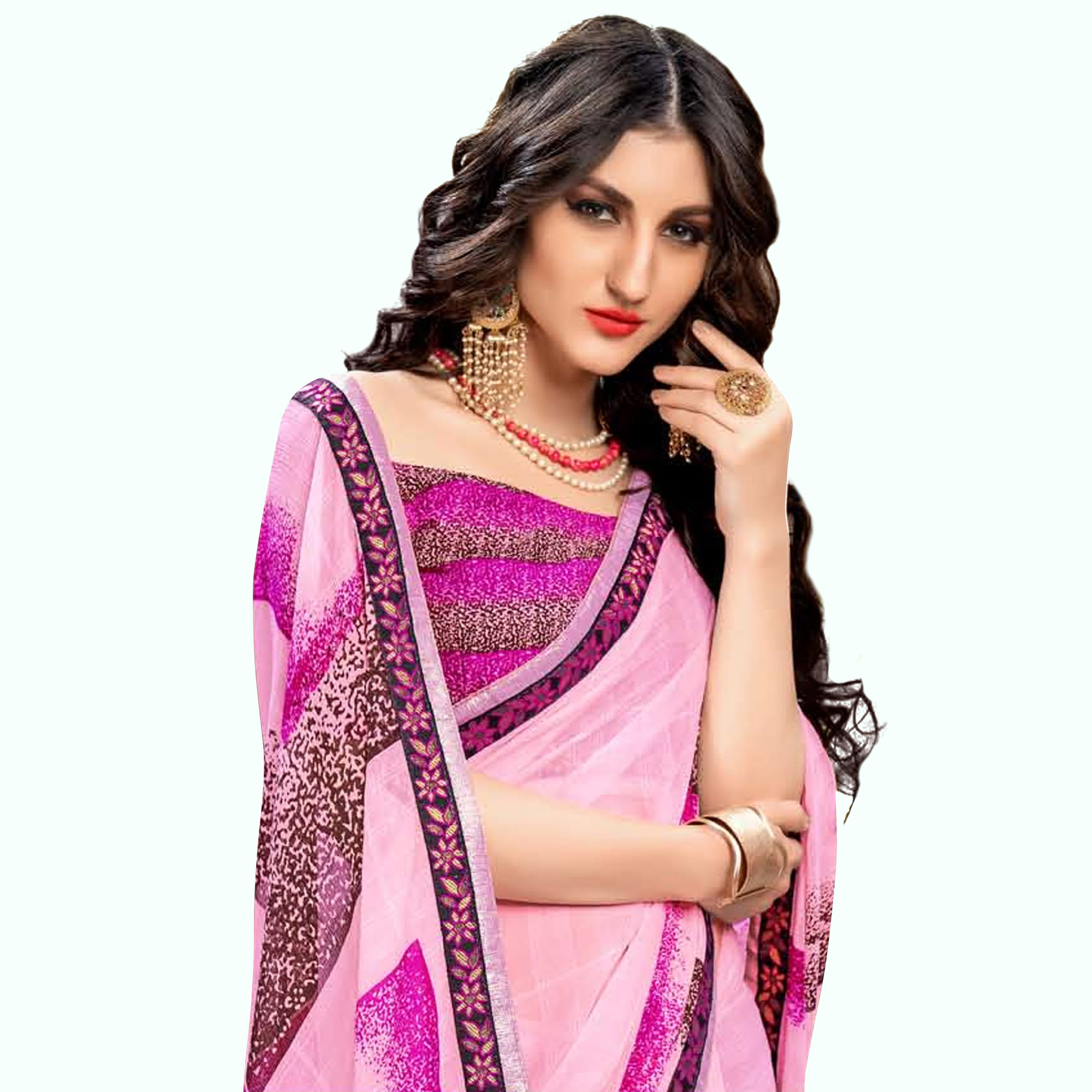 Eye-catching Pink Colored Casual Wear Printed Georgette Saree