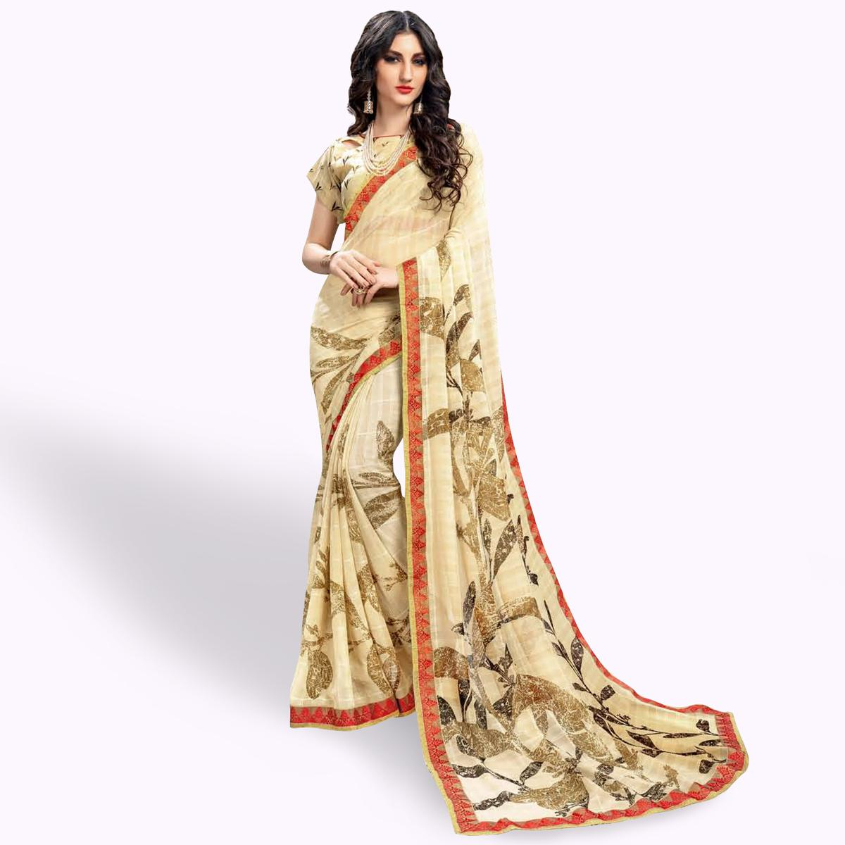 Fantastic Cream Colored Casual Wear Printed Georgette Saree