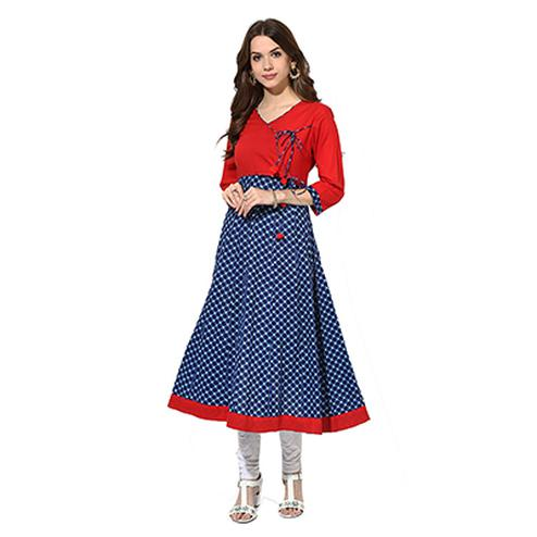Blue - Red Digital Checkered Printed Kurti
