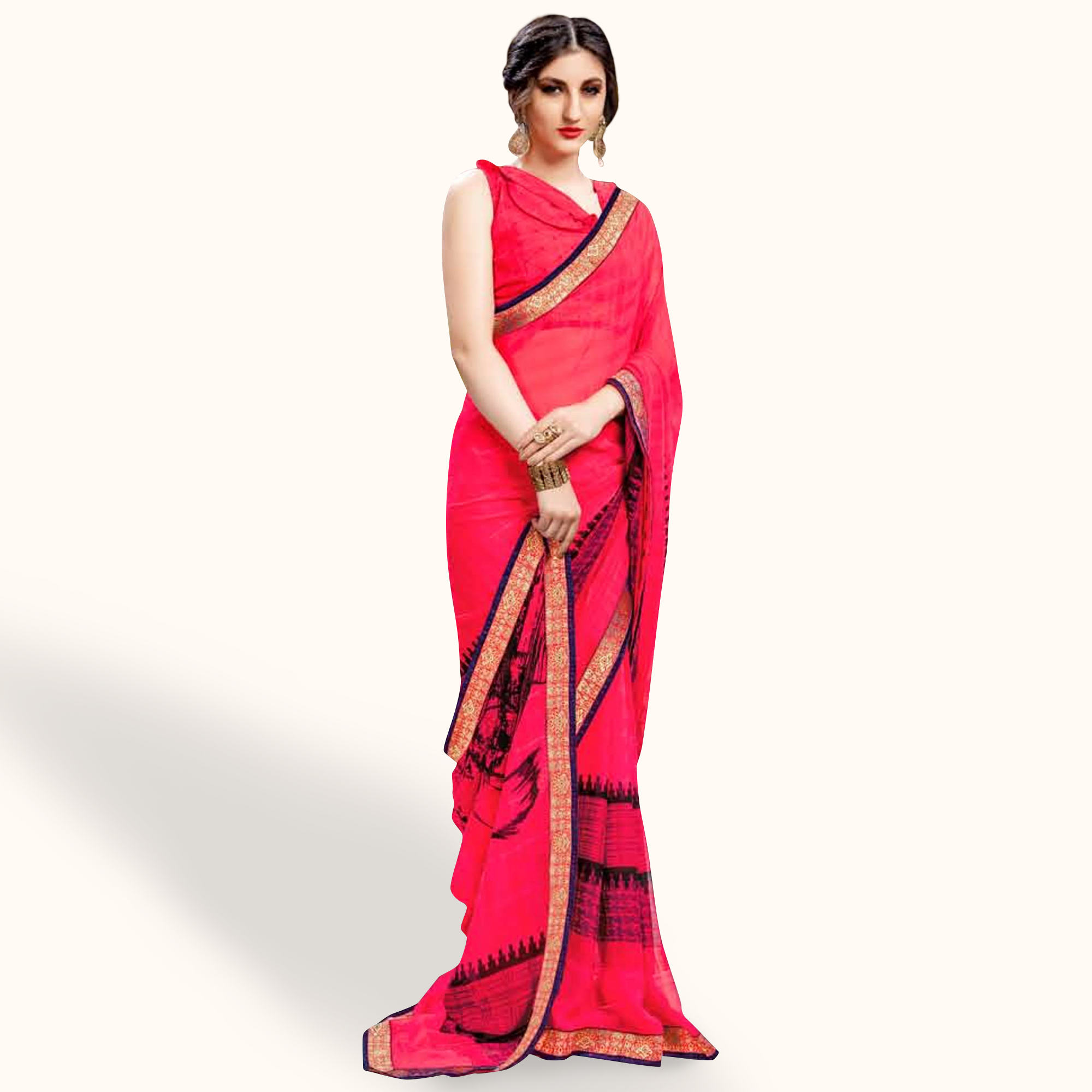 Graceful Pink Colored Casual Wear Printed Georgette Saree