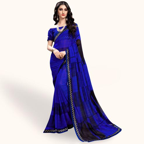 Imposing Royal Blue Colored Casual Wear Printed Georgette Saree