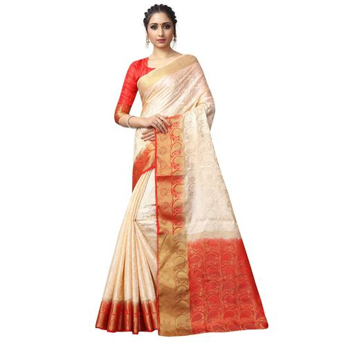 Desiring Cream Colored Festive Wear Woven Jacquard Silk Saree