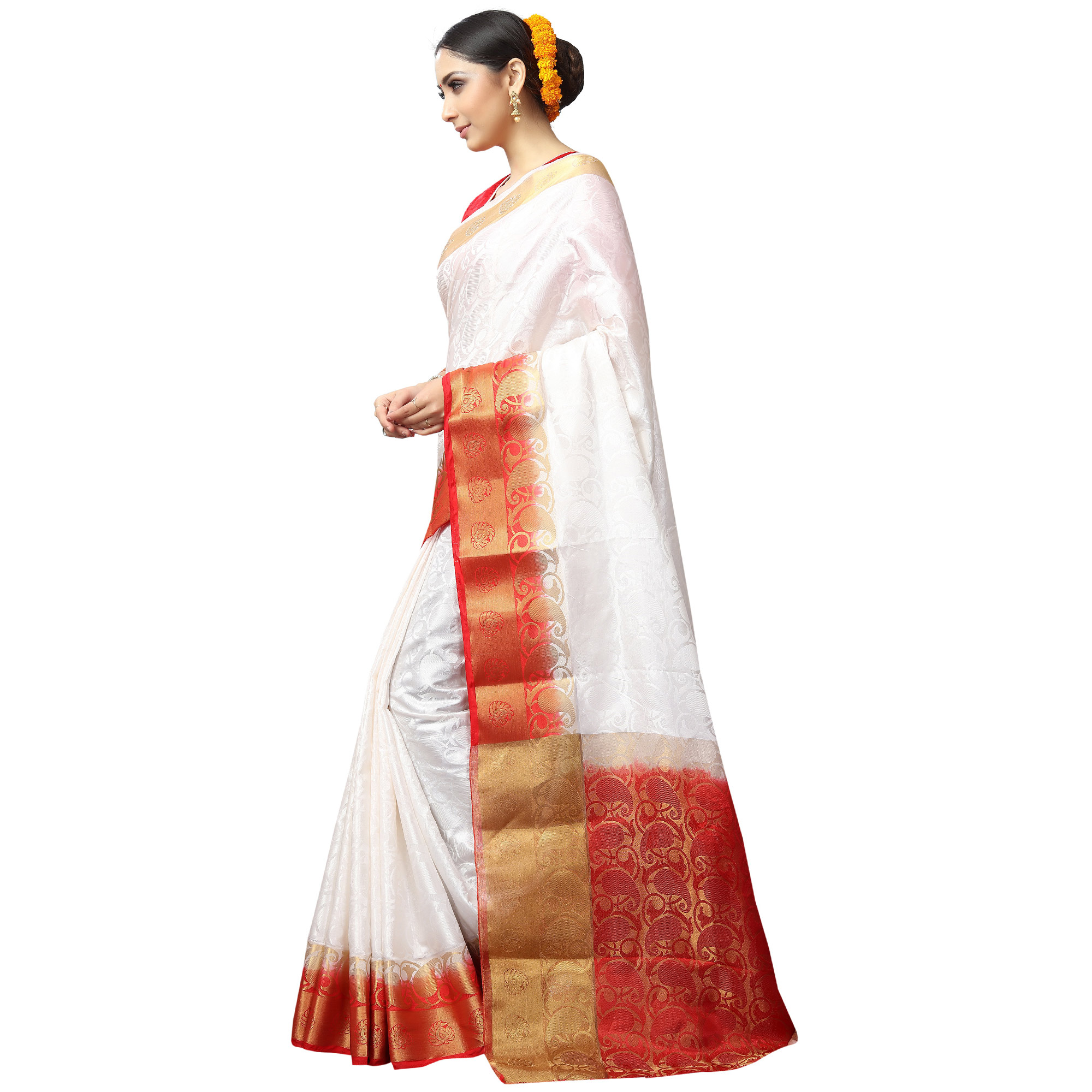 Appealing White Colored Festive Wear Woven Jacquard Silk Saree