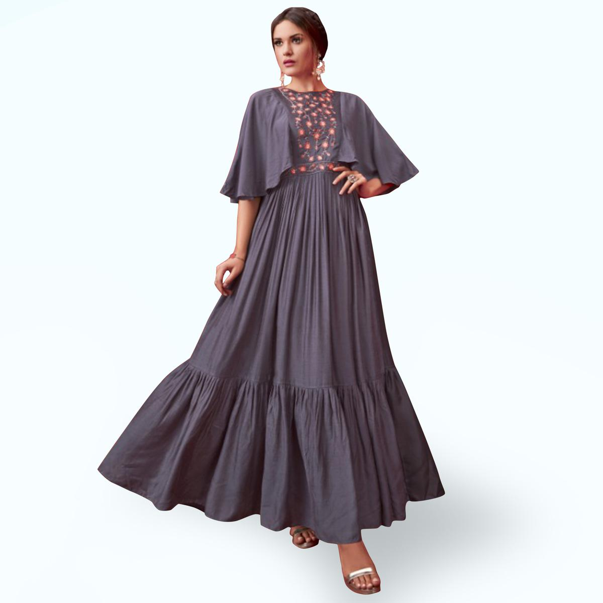 Adorning Grey Colored Party Wear Embroidered Pure Cotton Gown
