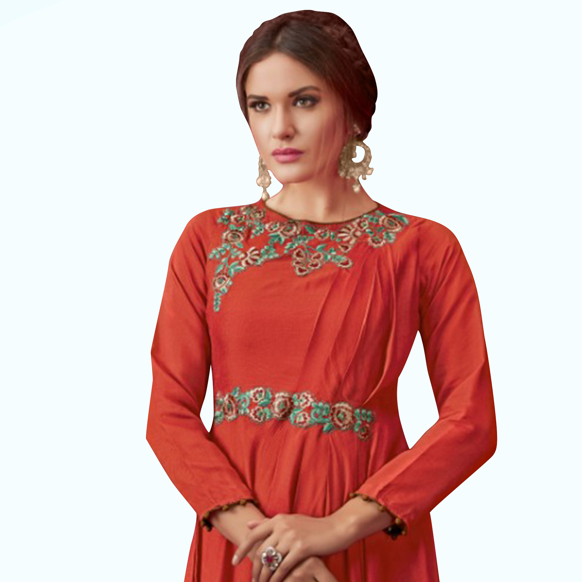 Jazzy Rust Red Colored Party Wear Embroidered Pure Cotton Gown