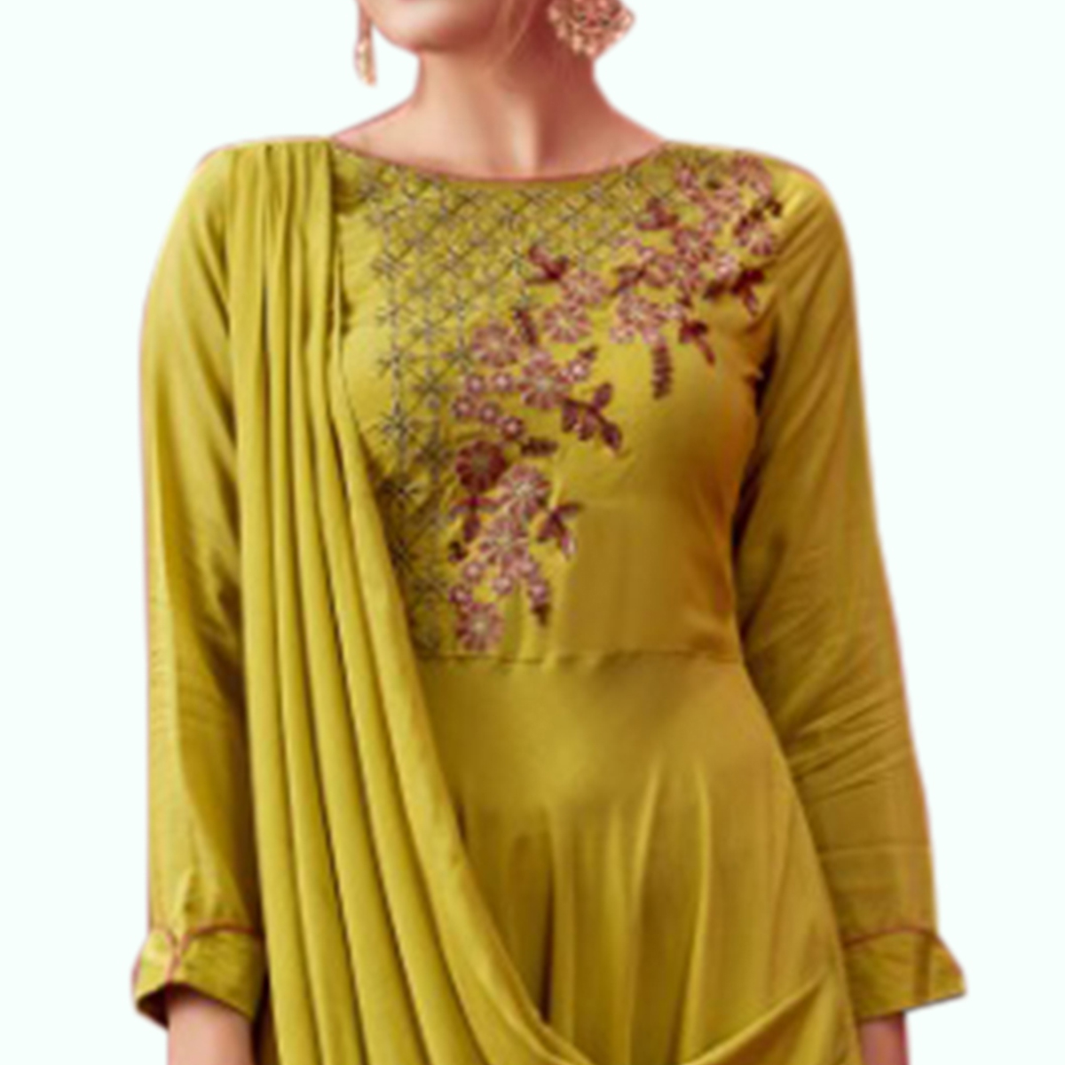 Capricious Pear Green Colored Party Wear Embroidered Pure Cotton Gown