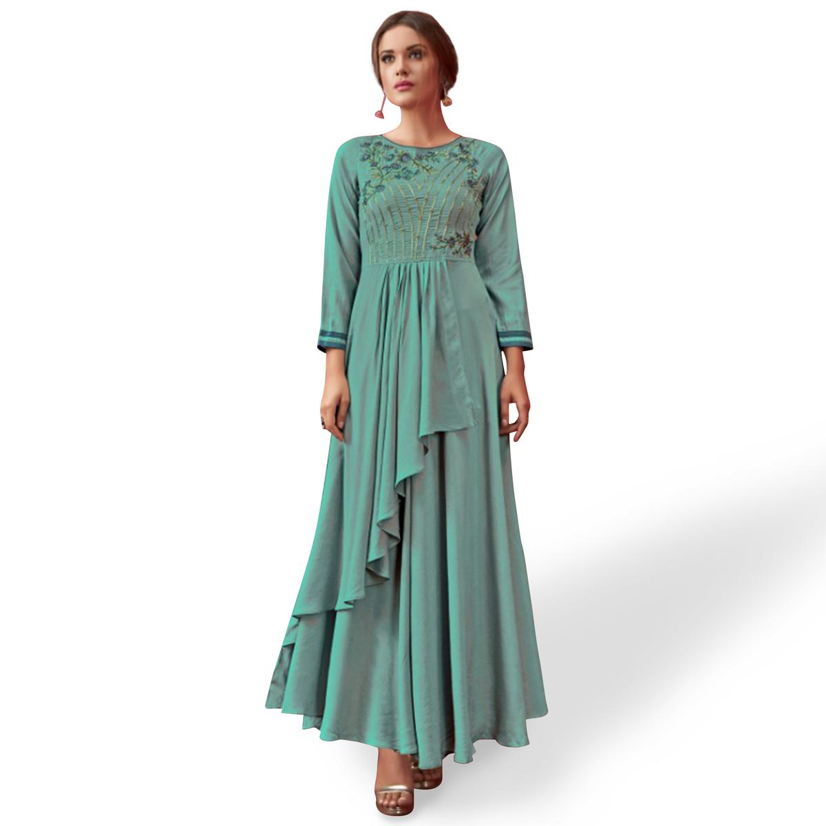 Groovy Turquoise Blue Colored Party Wear Embroidered Pure Cotton Gown