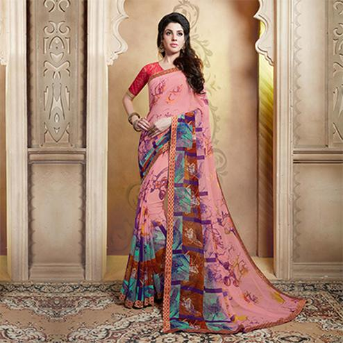 Beautiful Pink Casual Wear Georgette Saree