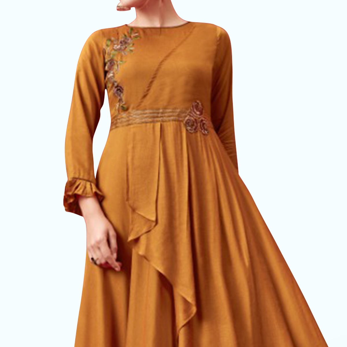Prominent Mustard Yellow Colored Party Wear Embroidered Pure Cotton Gown