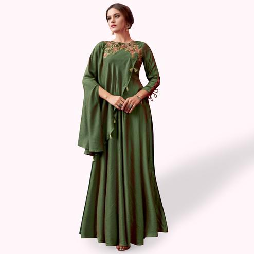 Innovative Dark Green Colored Party Wear Embroidered Pure Cotton Gown