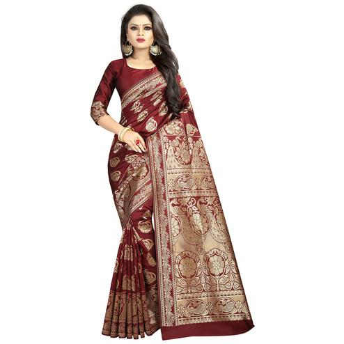 Elegant Maroon Colored Festive Wear Woven Banarasi Silk Saree