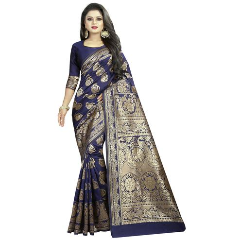 Classy Blue Colored Festive Wear Woven Banarasi Silk Saree