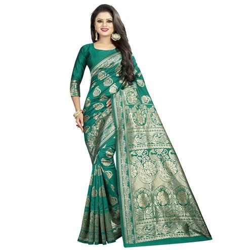 Beautiful Rama Green Colored Festive Wear Woven Banarasi Silk Saree