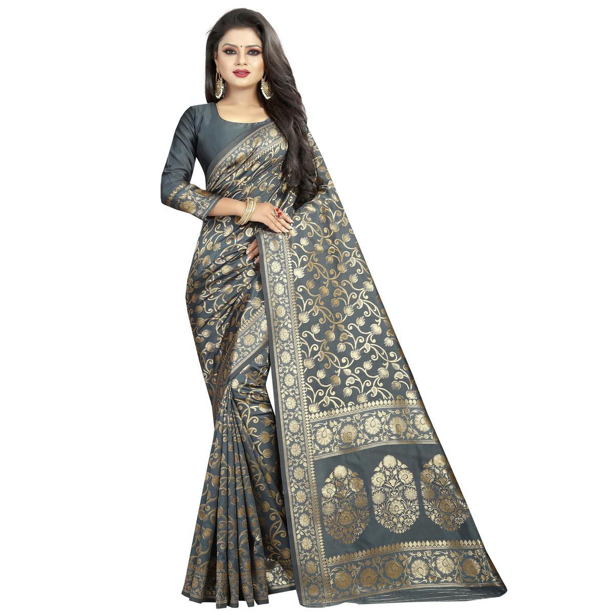 Lovely Gray Colored Festive Wear Woven Banarasi Silk Saree