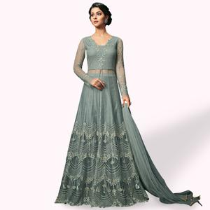 Elegant Grey Colored Party Wear Embroidered Net Anarkali Suit