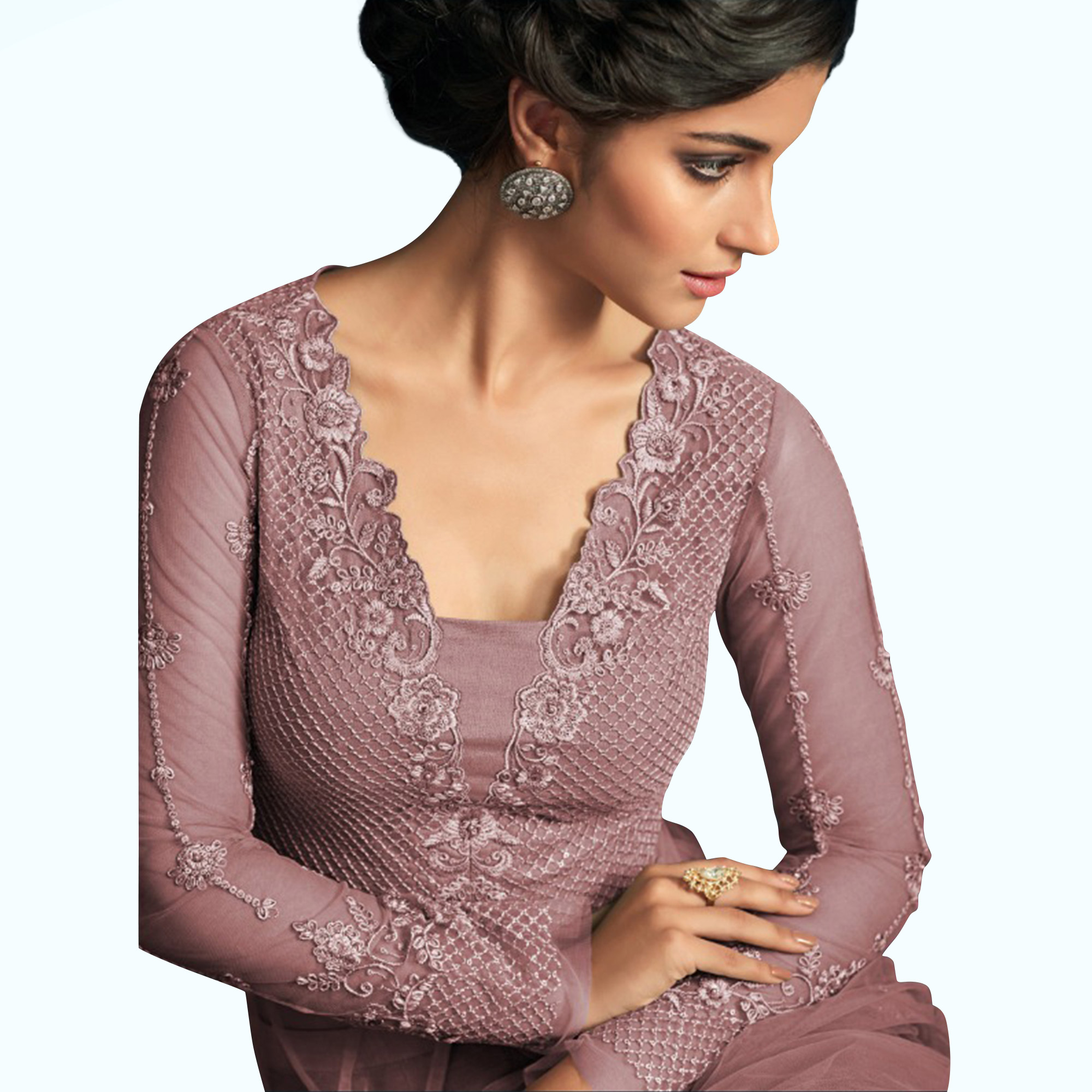 Excellent Dark Mauve Colored Party Wear Embroidered Net Anarkali Suit