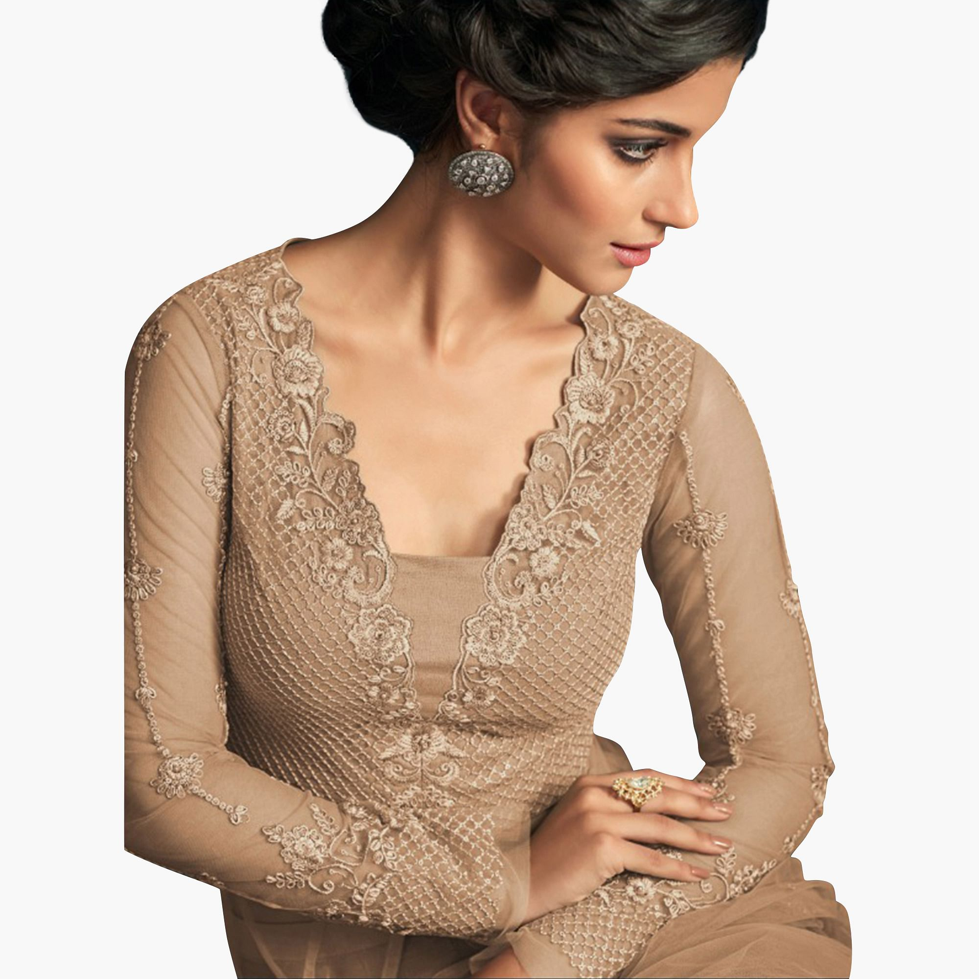 Breathtaking Light Brown Colored Party Wear Embroidered Net Anarkali Suit