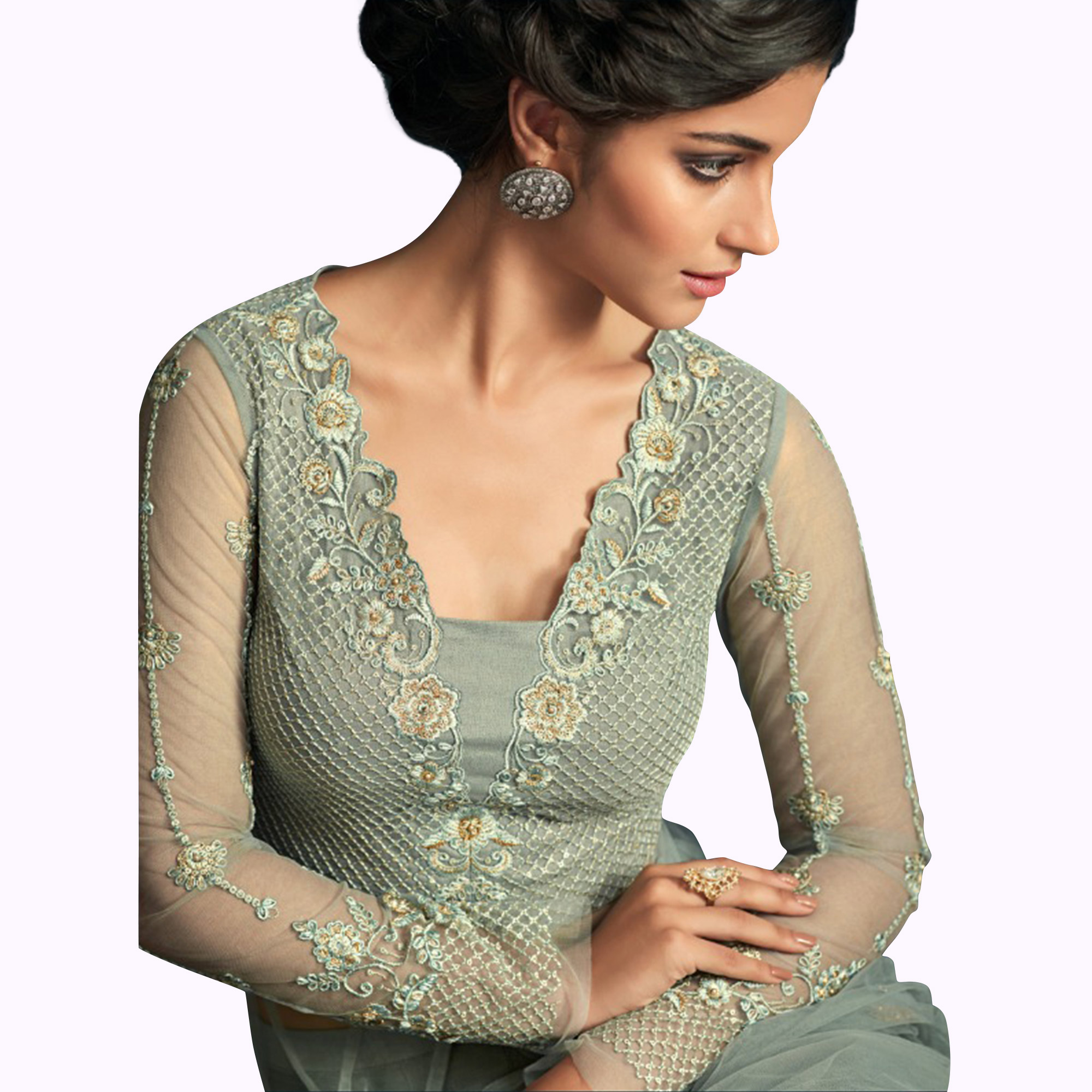 Impressive Light Grey Colored Party Wear Embroidered Net Anarkali Suit