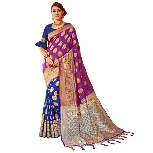 Beautiful Navy Blue-Purple Colored Festive Wear Woven Banarasi Silk Saree