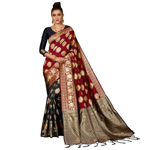 Elegant Black-Red Colored Festive Wear Woven Banarasi Silk Saree
