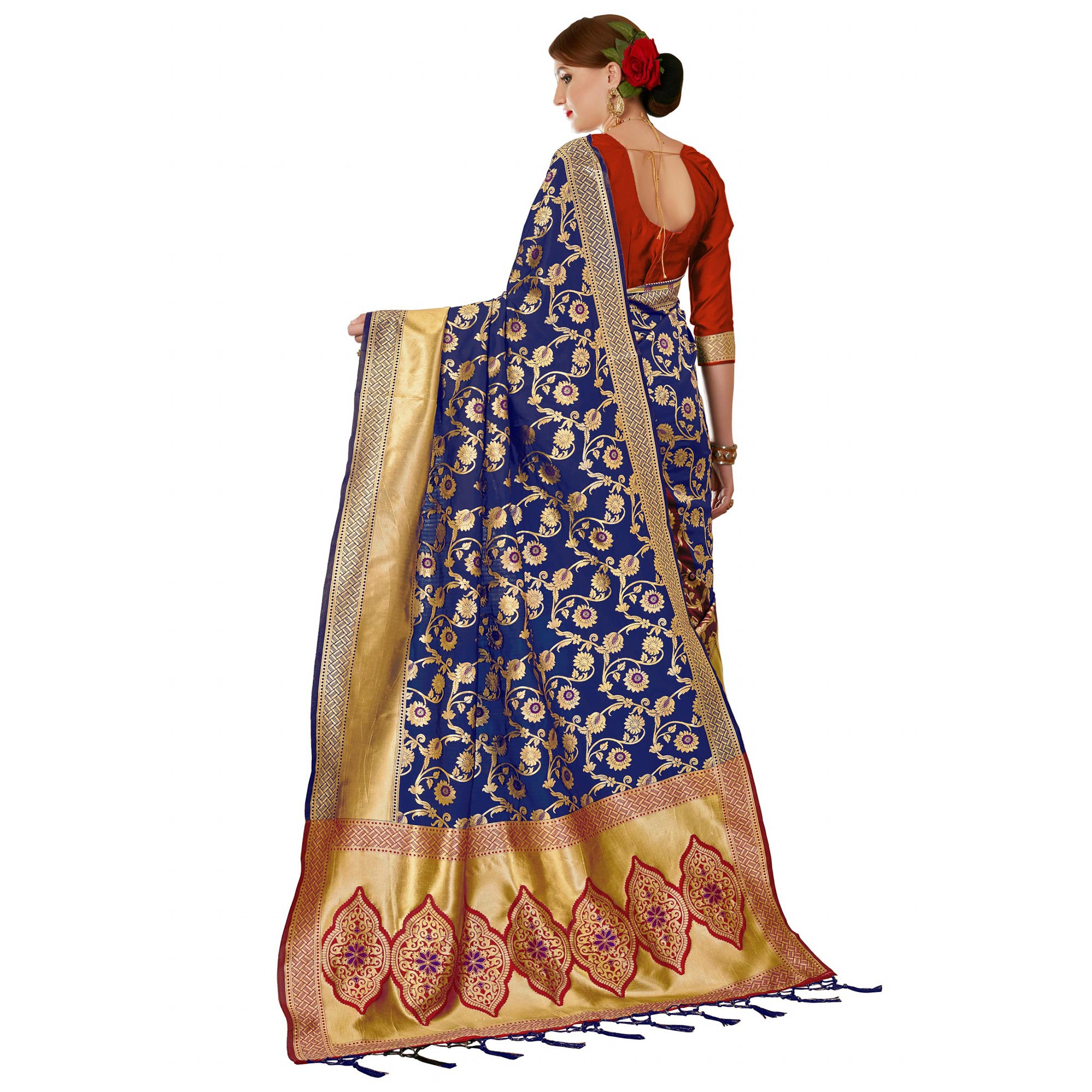 Classy Orange-Navy Blue Colored Festive Wear Woven Banarasi Silk Saree