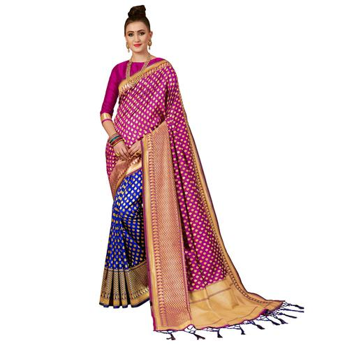 Lovely Pink-Blue Colored Festive Wear Woven Banarasi Silk Saree