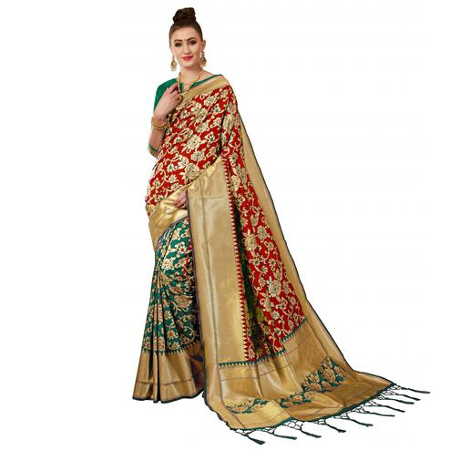Graceful Green-Red Colored Festive Wear Woven Banarasi Silk Saree
