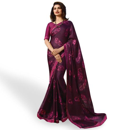 Glowing Wine Colored Casual Wear Printed Silk Saree