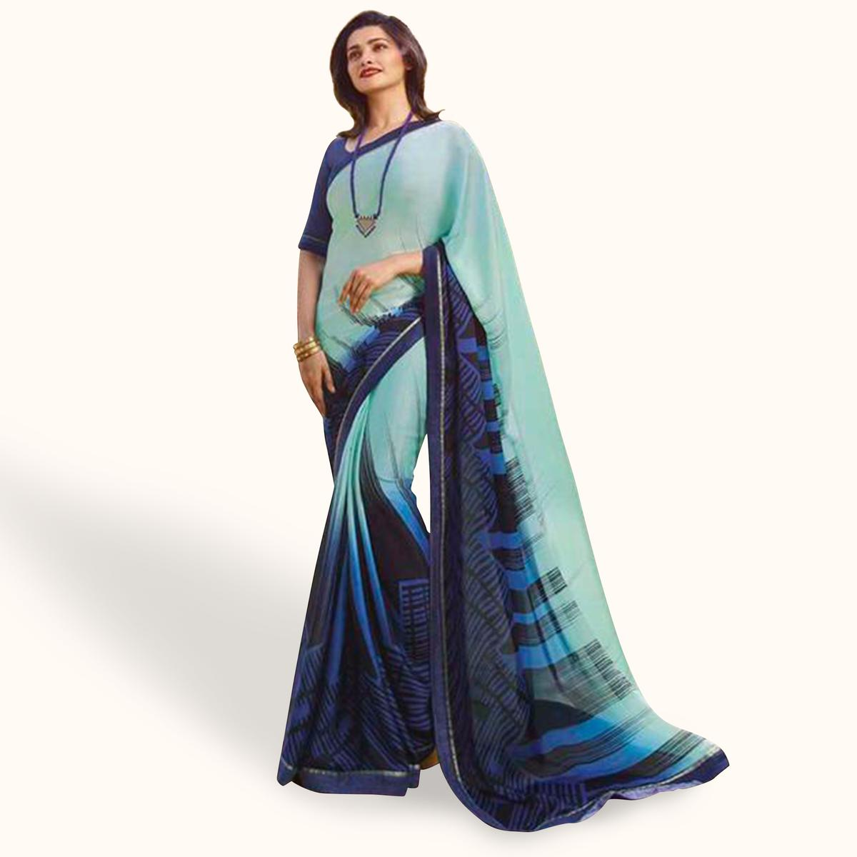 Exceptional Blue Colored Casual Wear Printed Silk Saree