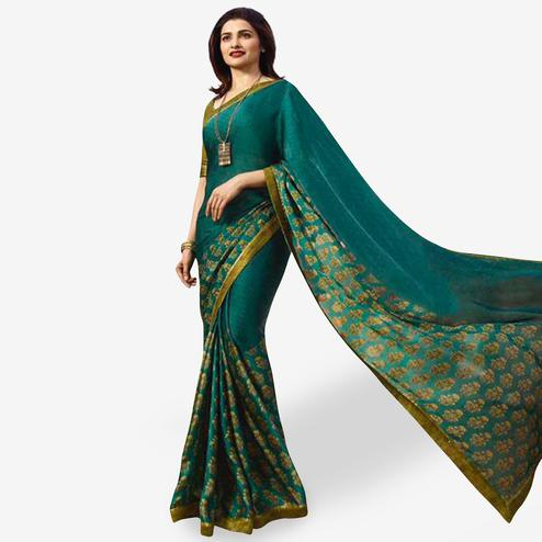 Gleaming Teal Green Colored Casual Wear Printed Silk Saree