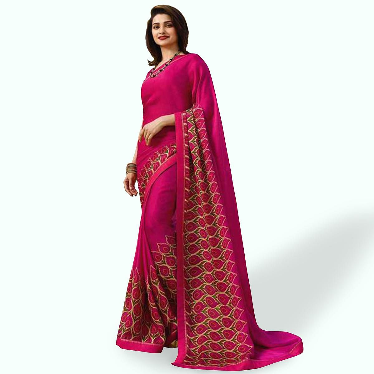 Mesmeric Deep Pink Colored Casual Wear Printed Silk Saree