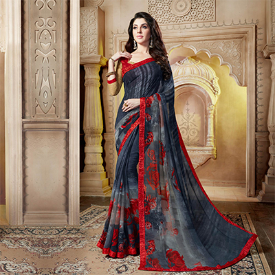 Charming Black Casual Wear Printed Georgette Saree