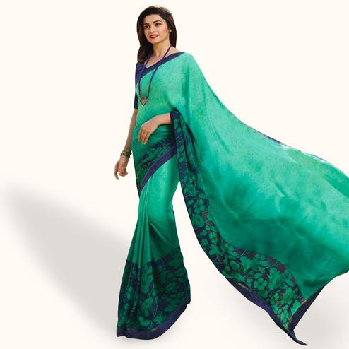 Unique Turquoise Green Colored Casual Wear Printed Silk Saree