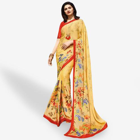 Demanding Yellow Colored Casual Wear Printed Silk Saree