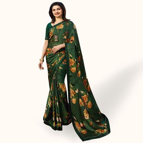 Refreshing Dark Green Colored Casual Wear Printed Silk Saree