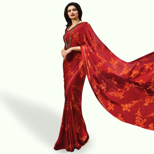 Magnetic Red Colored Casual Wear Printed Silk Saree