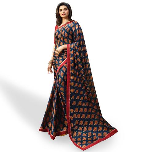 Hypnotic Blue Colored Casual Wear Printed Silk Saree