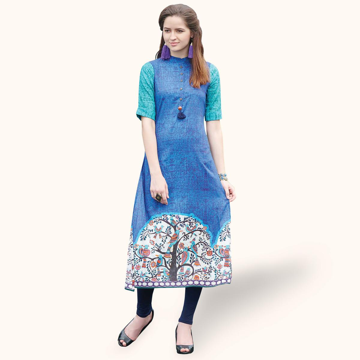Engrossing Blue Colored Casual Printed Rayon Kurti