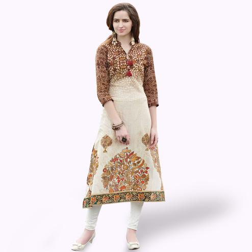 Entrancing Cream-Brown Colored Casual Printed Rayon Kurti