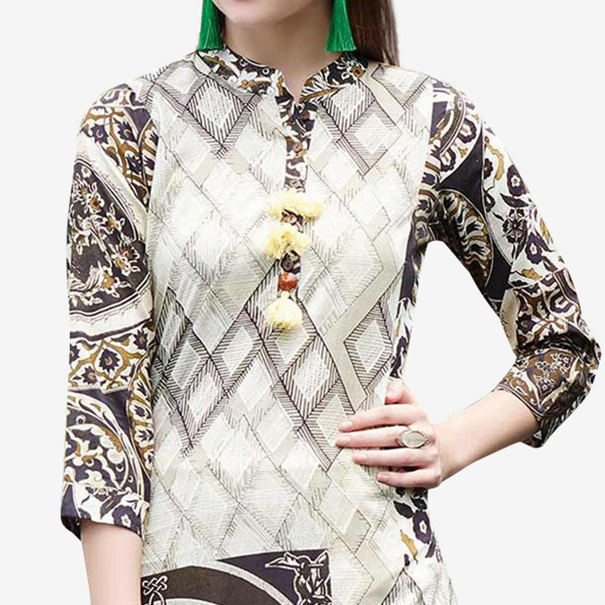 Exotic Multi Colored Casual Printed Rayon Kurti