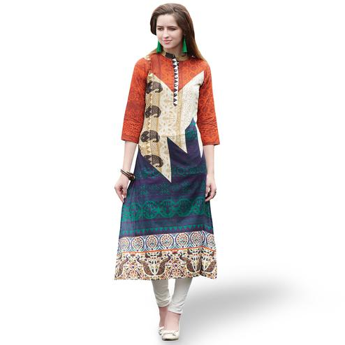 Eye-catching Multi Color Casual Printed Rayon Kurti