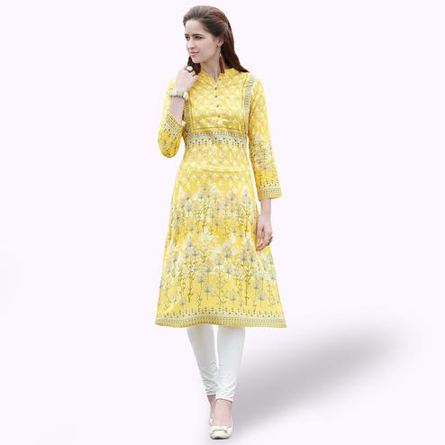 Fantastic Yellow Colored Casual Printed Rayon Kurti