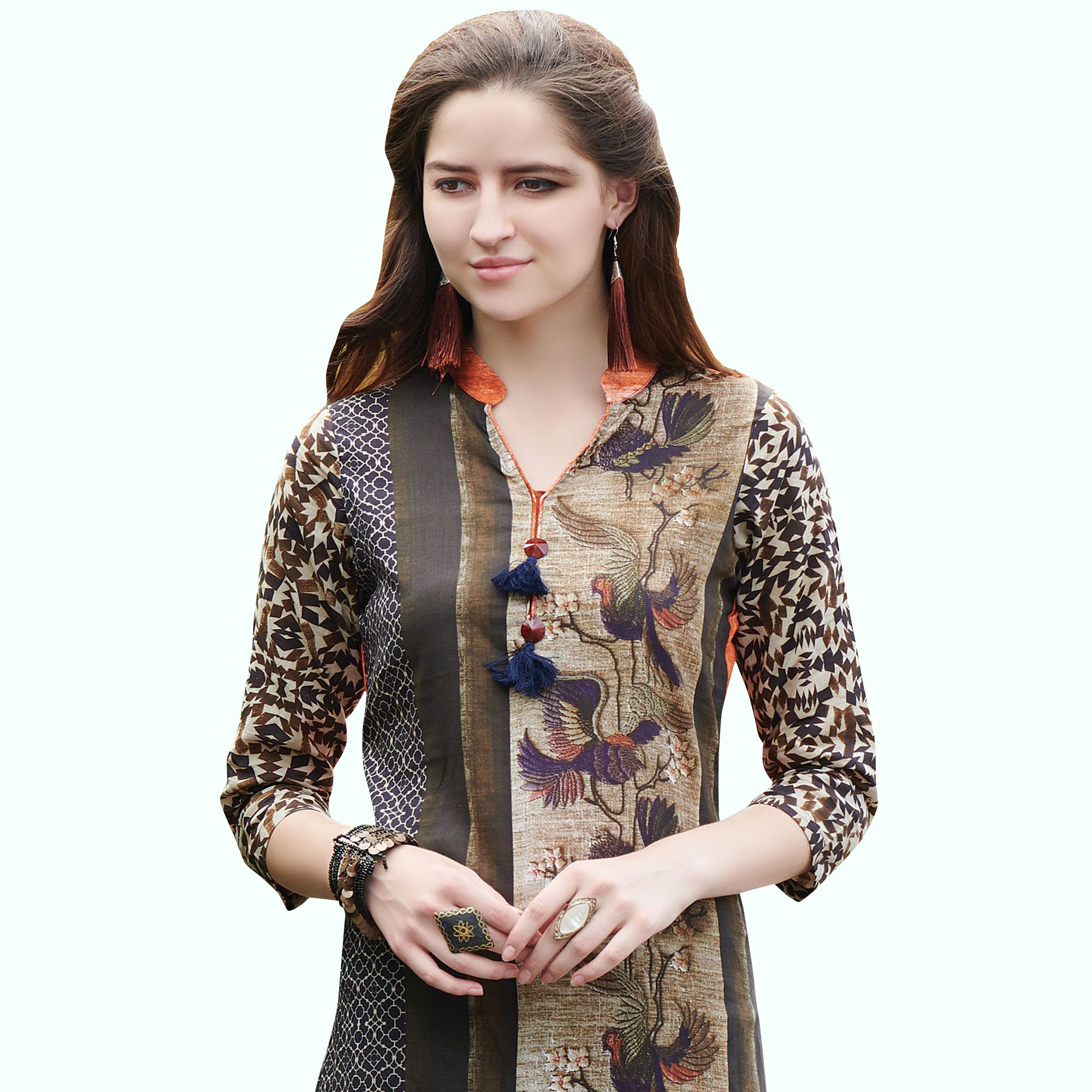 Glorious Black Colored Casual Printed Rayon Kurti