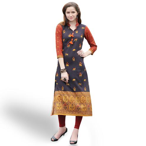 Gorgeous Coffee Brown Colored Casual Printed Rayon Kurti
