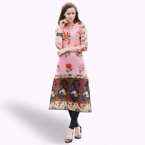 Graceful Light Pink Colored Casual Printed Rayon Kurti