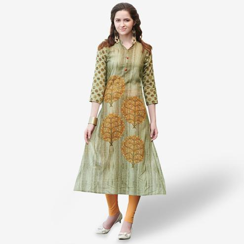 Ideal Olive Green Colored Casual Printed Rayon Kurti