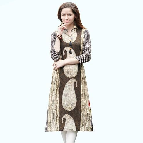 Imposing Brown Colored Casual Printed Rayon Kurti