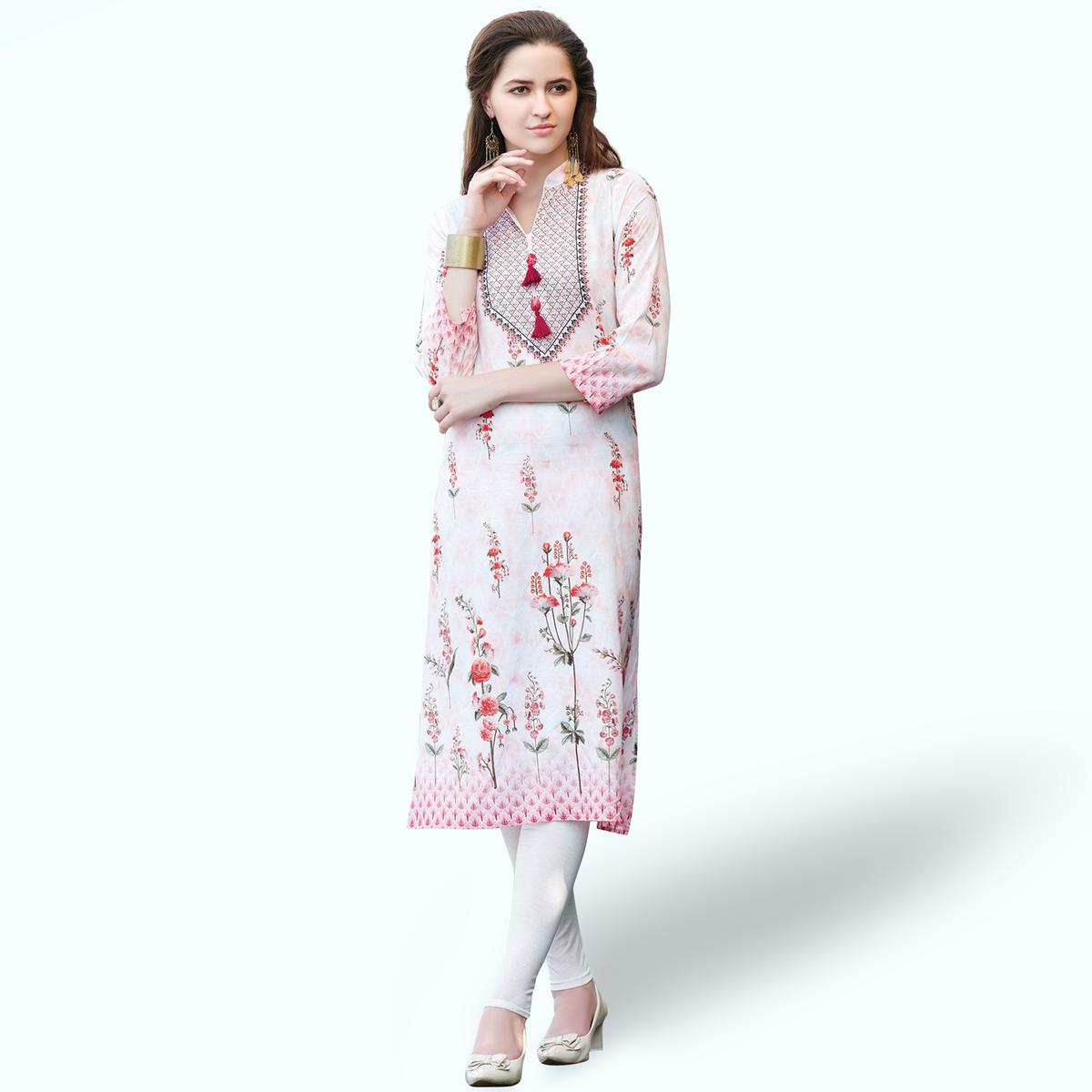 Lovely White Colored Casual Printed Rayon Kurti