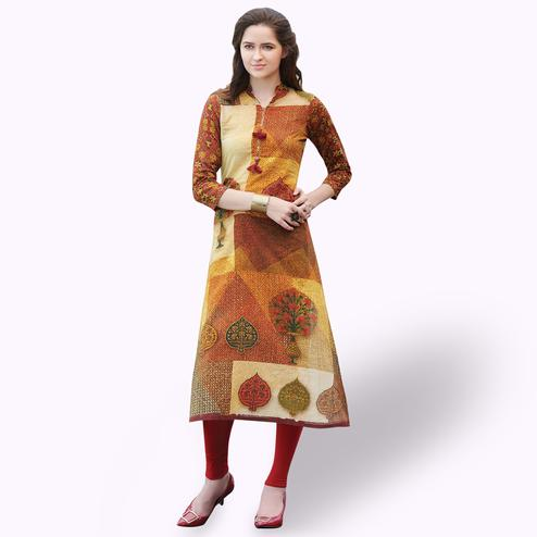 Majesty Multi Colored Casual Printed Rayon Kurti