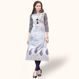 Marvellous White Colored Casual Printed Rayon Kurti